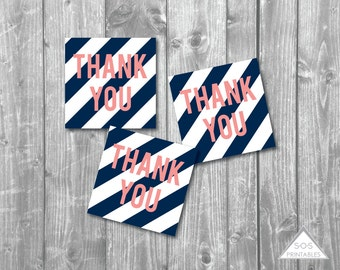 Navy and Coral Thank you Tags, Navy and Coral Party, Favor Tags, Printable Favor Tags,Printable PDF, Navy Stripes, Nautical, Wedding, Shower