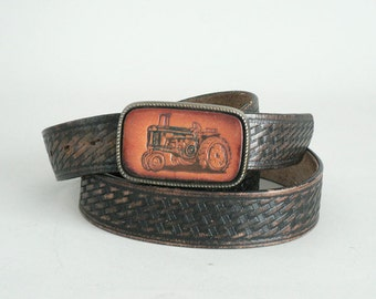 Mens Western Leather Belt Size 48 With Tractor Buckle