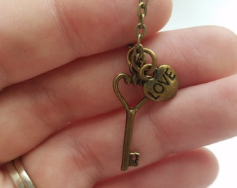 Heart Key Necklace, Love Charm, Steampunk Necklace, Antique Necklace, Valentines Day Gift