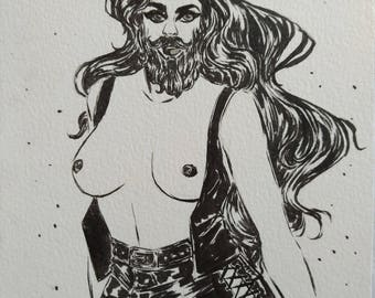 Inktober 16 - Bearded Lady