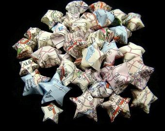 50 Origami Lucky Stars - Recycled Maps