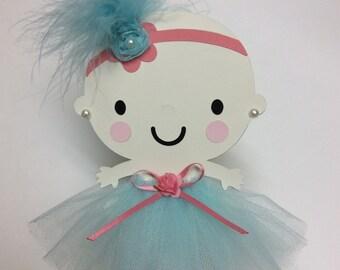 Light aqua and coral ballerina baby girl cake topper/Girl baby shower cake topper