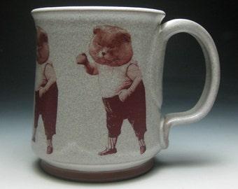 Mustache Mug- Boxing Cat- right handed