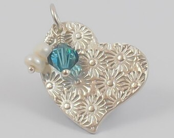 Valentine's Day - Birth Stone Charm - Personalized Necklace - Birth Stone Necklace - Heart Necklace