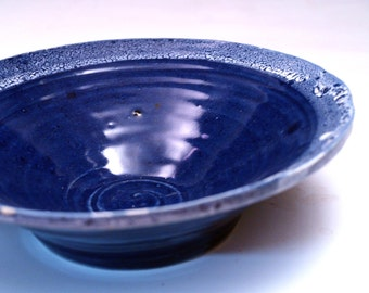Cobalt Blue Stoneware Serving Bowl with White Edging