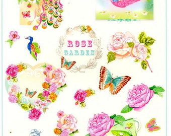 105 - Image sheet by cutting Peacock, flowers, vintage