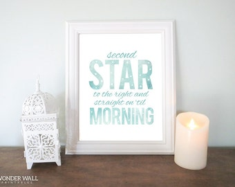 Second Star to the Right and Straight on til Morning 8x10 PRINTABLE TEAL and PINK Nursery Decor Wall art
