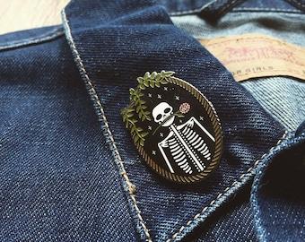 "Skeleton ""Jackie"" Pin // Artist Series pin by tinycup needleworks // Embroidery cameo skeleton flowers Halloween dia de los muertos spooky"