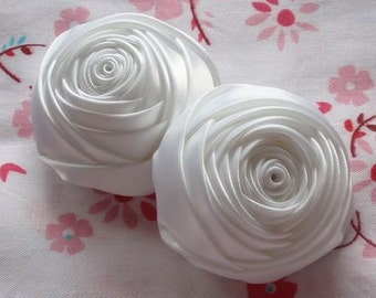 2 Handmade Rolled Roses (2 inches) in White MY-012-05  Ready To Ship