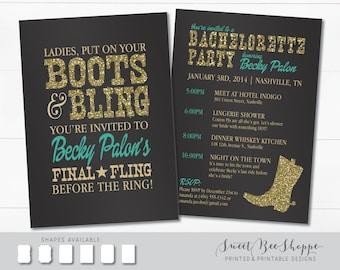 Land Western Bachelorette Party-Einladung, Stiefel & Bling Bachelorette laden, Salon/Cowgirl Bachelorette laden, druckbare digitale Datei
