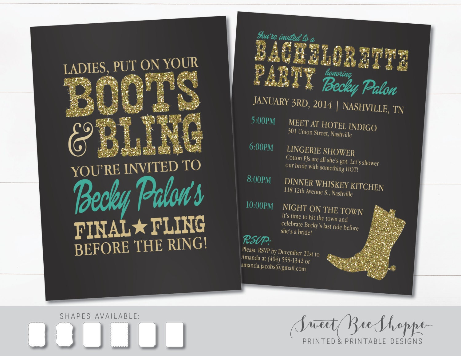 Country Western Bachelorette Party Invitation Boots & Bling