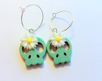 Turquoise Day of the Dead Daisy and Sugar Skull Earrings
