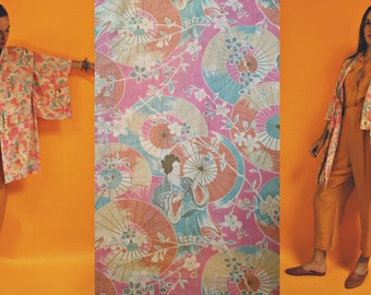 1960s Japanese Floral Print Short Kimono Top
