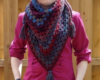 Crochet Granny Square Triangle Scarf/Shawl