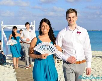 Lace Fan- Hand Held Fan- Handmade Lace Hand Fan- White Folding Hand Fan- Gift for Her- Gift under 50- Spanish Wedding Fan- Bridal Fan- Mom