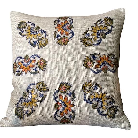 Linen Pillow, hand block printed Irish Linen, decorative Sofa Cushion , flowers pattern, Irish decor, cottage style