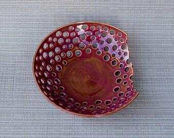 handmade, handmade pottery, pottery, bowl, fruit bowl, rose bowl, pottery fruit bowl, decor bowl, decor pottery bowl,rose colored decor bowl