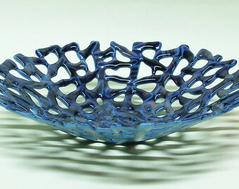 FUSED GLASS BOWL Handmade Dish Blue Opal Art Opaque Glass For Fruit
