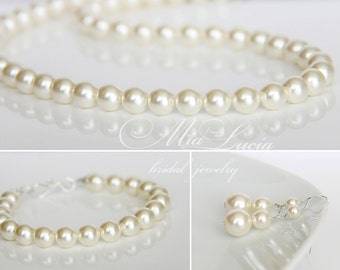 Wedding Jewelry Set, Ivory Pearl Jewelry Set, Bridal Pearl Necklace Set,Bridesmaid Jewelry set, Wedding Pearls Bridal,  art. 235-1