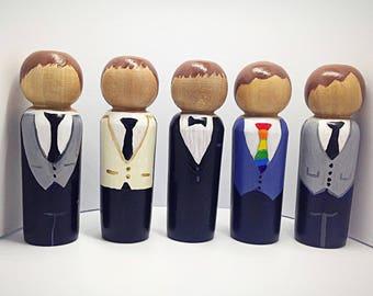 Groom Peg doll- Wedding Decor- proposal gift -Cake topper - Anniversary gift - wedding favour- Wooden peg dolls -CUSTOMISE HAIR & TIE
