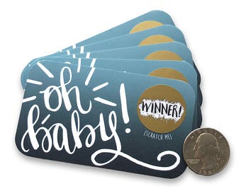 Oh Baby Baby Shower Scratch Off Cards - Baby Boy or Gender Neutral - Baby Shower Favor - Baby Shower Game - Scratch Off Cards Navy Blue