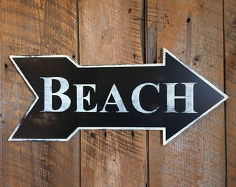BEACH * LARGE* Wooden Arrow Sign - Wall Art