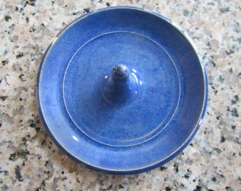 Royal Blue Ring Holder, Indigo Ring dish, Wheel Thrown, Clay Pottery