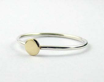 Gold Circle Ring, Gold Disc Ring, 9k Gold and Sterling Silver Ring, Dot Stacking Ring, Mixed Metals Minimalist Ring