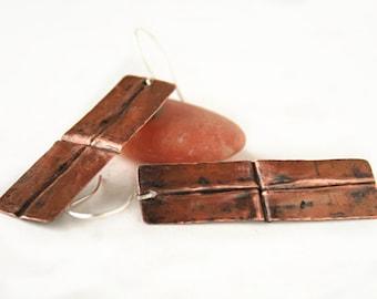 Copper Earrings - Statement Earrings - Artisan Earrings - Fold Form Jewelry - Mixed Metal Earrings - 7th Anniversary Gift - Gift Under 30