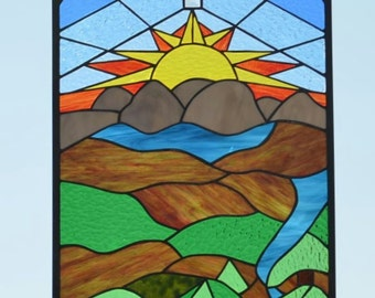 Large Religious Stained Glass Panel, Stained Glass Window, Home Decor, Glass Art, Religious Art, Art and Collectibles. 'Remember'