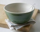 Handmade stoneware serving bowl - wheel thrown bowl in vanilla cream and forest green