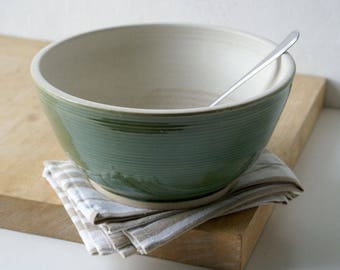 Handmade stoneware serving bowl - wheel thrown bowl in vanilla cream and forest green