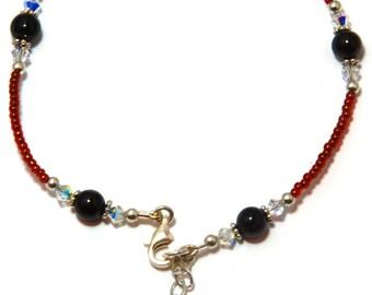 Garnet  Sterling Silver Ankle Bracelet