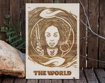 Laser etched wood, Laser engraved wood, Wood decoration, Housewarming gift, Wood art panel, Spiritual Wall Art, Wood engraved Tarot card