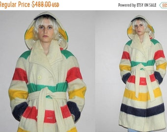 45% Off FLASH SALE - RARE 1960s 1970s Vintage Hudson's Bay Striped Trapper Point Blanket Pendleton Hooded  Coat - Vintage Bay Coats - Vintag
