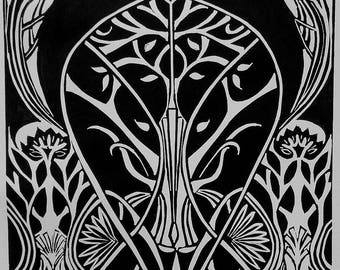 """Original linocut """"Art nouveau"""" - limited edition, numbered and signed by the artist / black and white / Art nouveau / tree"""
