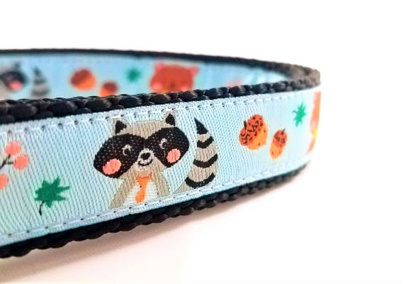 Mr Raccoon and Friends - Dog Collar / Adjustable / Small Dog Collar / Large Dog Collar / Bears / Raccoons / Rabbit / Hedgehog