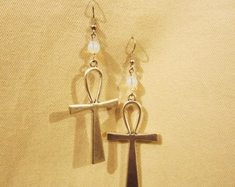 Egyptian Ankh silver tone earrings with semi precious stone that you choose.
