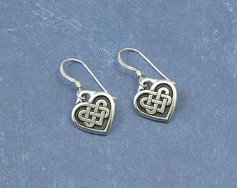 Celtic Knot Earrings on Sterling Silver Ear Wires, Celtic Heart Charms, Silver Celtic Jewelry