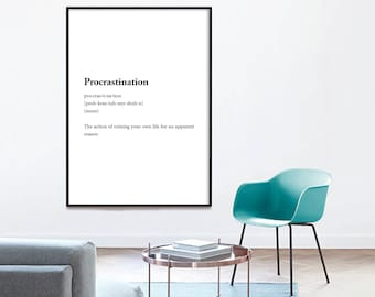 Definition, Procrastination, Printable Poster, Art Funny, Typography Quote, Print Download, Art Print, Typography Art, Funny Art Printable