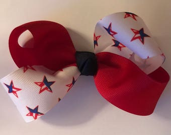 Hair Bow - Red & White w/ red/blue Stars