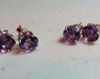 Amethyst Earrings - Cushion Cut Natural Amethyst & Sterling Silver Post Earrings - February Birthstone Earrings