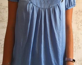 Gerard Darel Top in blue sky silk the Nineties