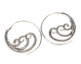 White Brass Tribal Waves Design Spiral Earrings Tribal Earrings Mandala Jewellery Free UK Delivery WB41 WBS1