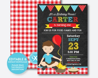 Instant Download, Editable Picnic Birthday Invitation, Picnic Invitation, Picnic Party Invitation, Boy Invitation, Red, Chalkboard (CKB.41)