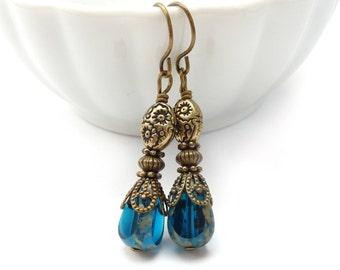 Sapphire Blue Picasso Glass Teardrop Earrings - Bronze Dangles - Romantic Petite Earrings
