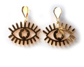 WIDE EYES Gold Statement Earrings - eye earrings, evil eye earrings, modern Earrings, laser cut earrings, eye jewelry, gold eye, art pop