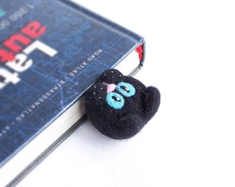 Black cat bookmark Blue eyes Cute cat kitten Fun reading Original accessory Bookworm geek teacher pupil school Book Gift for him and her