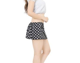 Girls Ladies Black polka dot 10  inch Rara micro mini skirt divas style skirt frill skirt transparent prints UK Size 6 -24