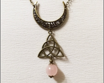Wiccan necklace, witchcraft jewelry, rose quartz, upside down moon, witchy necklace, pagan jewelry, pagan necklace, witch necklace